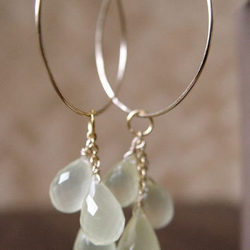 Vanilla Moonstone Cluster Hoops - 14k Gold Fill Earrings