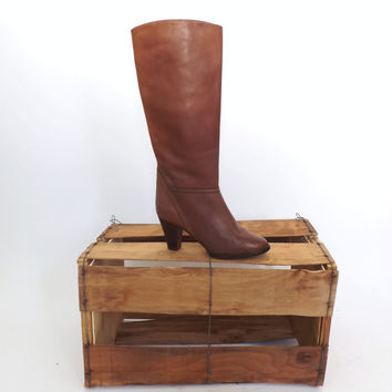 SIZE 7.5 Vintage 70s Cognac Brown Tall Soft Leather Boots Brazil Mid Calf Equestrian High Heel Riding Boots Boho Urban 80's Leather Shoes