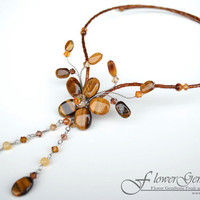 Chandelier Necklaces Tiger Eye Gem Stone Necklace Gemstone Flower Set Natural Design by Flower GemStone