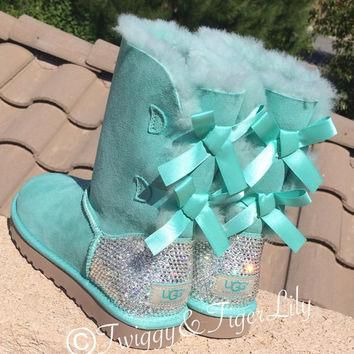 Swarovski Crystallized Ugg Boots - Bling Surf Spray Bailey Bow Uggs with Swarovski Cry