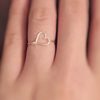 Silver Heart ring,stacking rings,bridesmaids gift,knuckle rings,bohemian,for her,hammered silver,thin heart ring,gypsy ring,minimalist rings
