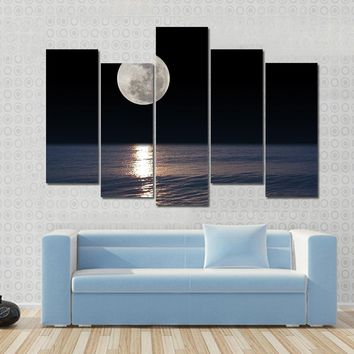 Romantic Tropical Beach With Beautiful Full Moon Multi Panel Canvas Wall Art
