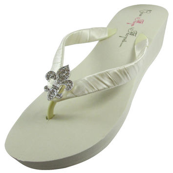 Bridal Flip Flops/ Ivory Wedding Flip Flop Wedges or Flats, Fleur de Lis Bling Embellishment, White Rhinestone Satin Bride Bridesmaids