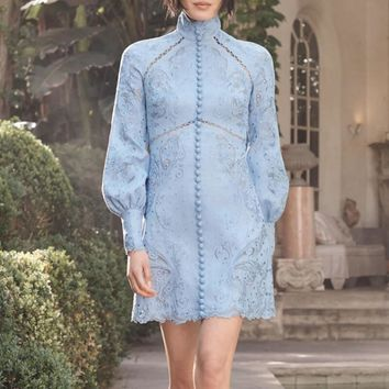 Hollow-Carved Embroidered Lantern Sleeve Dress
