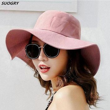 SUOGRY Spring Summer Sun Hats For Women Large Wide Brim Cotton Bucket Hat Beach Panama Hat Cap Visor Seaside Chapeau Femme New