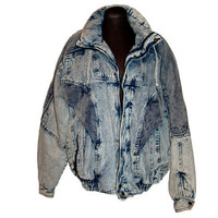 1980s acid washed denim coat, bomber jacket, distressed denim, Unisex coat, Mens coat, Size M/L