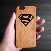 Super Man Cherry Wood One Piece iPhone 6 6s Case , iPhone 6s Case Wood , Wooden iPhone 6s Case , Valentine's Gift for him