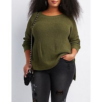 Plus Size Shaker Stitch Open-Back Sweater | Charlotte Russe