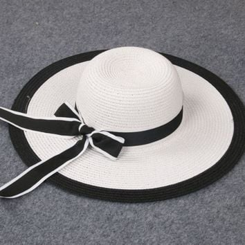 New Summer child Girl and Ladies Striped Bow Cap Big along hat Sun beach hat White and black lm1-2