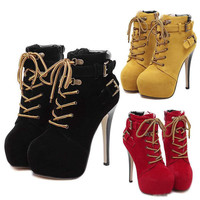 Stiletto Platform Shoes With Buckles Lace Up High Heel Ankle Boot Shoe s Booties Add Plush Winter Size 35 to 40