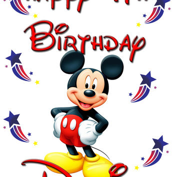 Personalized Custom Birthday T-shirt Mickey Mouse Disney