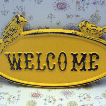 Bird Welcome Cast Iron Sign Shabby Chic Sunny Lemon Yellow Distressed Double Birds Garden Door Greeting Wall Plaque