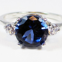 Blue Sapphire and CZ Ring Sterling Silver, September Birthstone Ring, Sapphire Engagement Ring, Sterling Blue Sapphire Ring Three Stone Ring