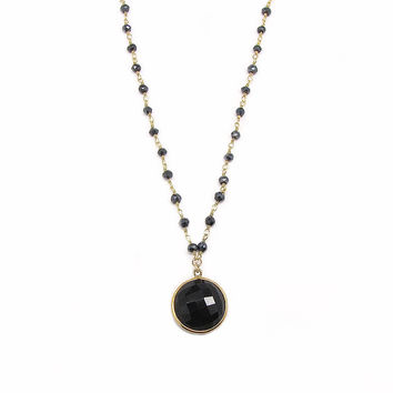 Black Onyx and Spinel Long Pendant Necklace