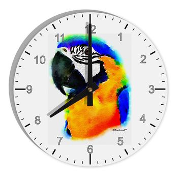 "Brightly Colored Parrot Watercolor 8"" Round Wall Clock with Numbers"