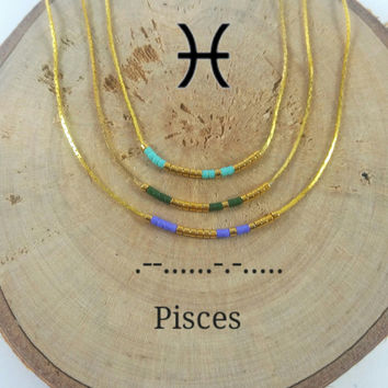 PISCES Morse Code necklace, CUSTOM morse code, Secret Message, Dainty necklace, Personalized, Morse code jewelry, Birth necklace, BFF Gift