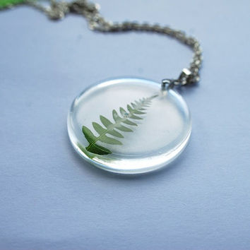 Pressed Leaf Necklace Green Fern Botanical by NaturalPrettyThings
