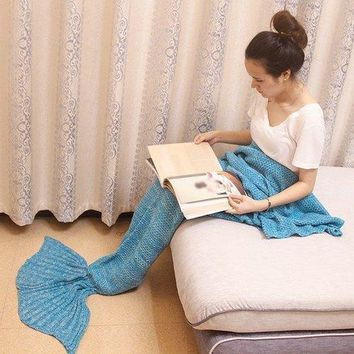 Magic Sofa Decor Knitted Mermaid Blanket - Azure