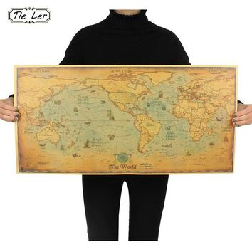 TIE LER Retro World Map Kraft Paper Paint Vintage Wall Sticker Poster Living Room Art Crafts Maps Bar Cafe Wallpaper 72.5*36.5cm