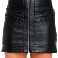 Jack by BB Dakota Collins Black Vegan Leather Mini Skirt
