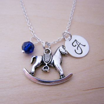 Rocking Horse Charm Necklace -  Swarovski Birthstone Initial Personalized Sterling Silver Necklace / Gift for Her - Horse Necklace