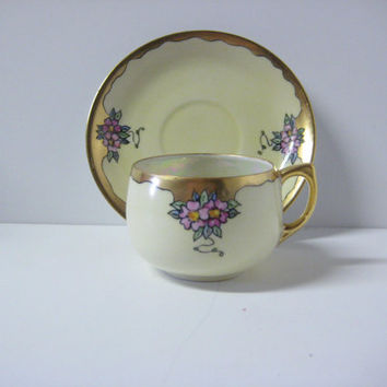 Vintage D & B Germany Luster Ware Tea Cup and Saucer Signed Jorgensen
