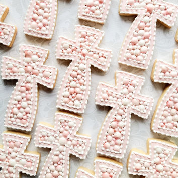 Elegant Pink & Pearls Cross Cookies - One Dozen Decorated Sugar Cookies