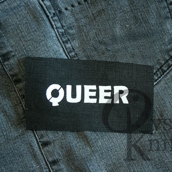 Queer patch black - queercore, genderqueer, gay, lesbian, bi, riot grrrl, feminist, punk, metal