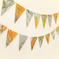 Map Bunting, vintage map garland, Atlas garland, Pennants, Map Banner, Wedding Decor
