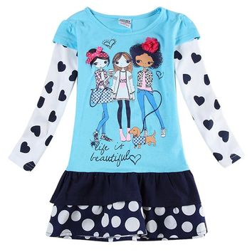 girls clothes girls dress casual princess dresses for girls appliques cartoon my littles pony butterfly children clothing H6495