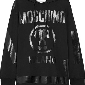 Moschino - Oversized printed cotton-jersey hooded top