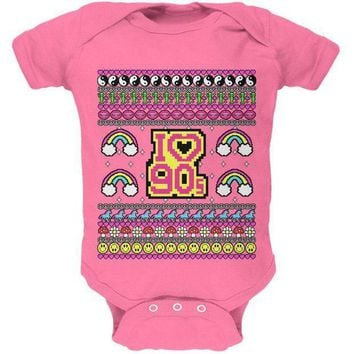 ICIK8UT I Love the 90s Retro Nostalgia Ugly Christmas Sweater Soft Baby One Piece