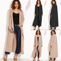 Women's Long Sleeve Waterfall Coat Jacket Ties Cardigan Outwear Cape Plus M-5XL