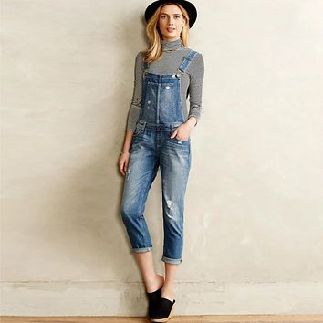 Women Adjustable Crisscross Straps Loose Long Denim Jumpsuits Dungaree Washed Denim Overall One Piece