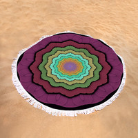 Round Beach Towel - Microfiber, Plush, Cotton, Summer, Beach, Bohemian, Boho, Hippie, Designer, Art, Abstract, Mauve, Colorful,Style