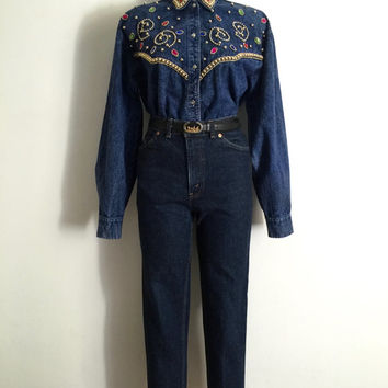 Vintage 1980s 'Tarado' button front, acid wash denim shirt with bejewelled front yoke and collar tips