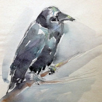 Raven Painting, Raven Art, Bird Watercolor, Bird Painting, Bird Artwork, Bird Wall Art, Watercolor Pictures, Custom Painting, Original Art