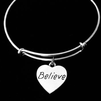 Believe Jewelry Inspirational Heart Expandable Charm Bracelet Silver Adjustable Bangle One Size Fits All Gift