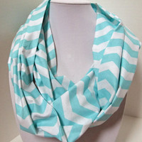 Chevron Infinity Scarf - Loop Scarf - Circle Scarf -made by me with mint/tiffany blue Chevron fabric -Easter orSpring Scarf