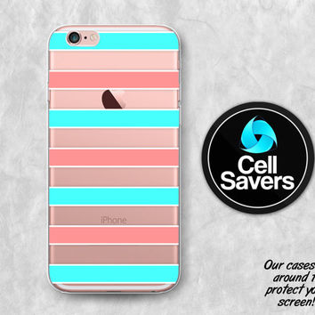 Coral Mint Stripes Clear iPhone 6s Case iPhone 6 Case iPhone 6 Plus iPhone 6s Plus iPhone 5c iPhone 5 iPhone SE Stripes Mint Blue Line Art