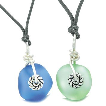 Twisted Twincies Cute Small Sea Glass Lucky Charms Love Couples BFF Set Mint Green Ocean Blue Necklaces