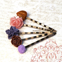 Late Summer Garden Bobby Pins. Pink Purple Brown Flower Bobby Pins. Womens Accesories