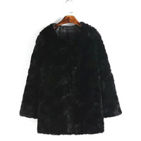 Black Fur Long-Sleeve Button Coat