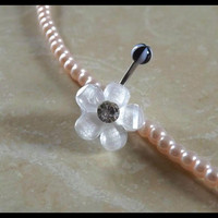 Flower Belly Ring Opaque White With Black and White Striped Ball Body Jewelry