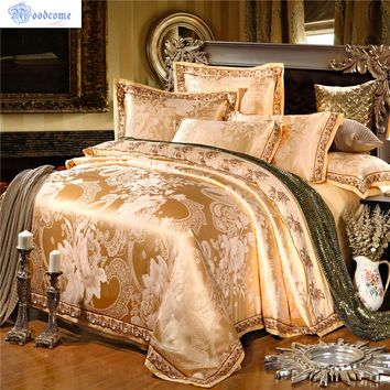 Moodcome Satin Luxury Silk Bedding Sets 4/6PCS Jacquard Cotton Bed Linens Bed Sheet Duvet Cover Bedding Set King Size