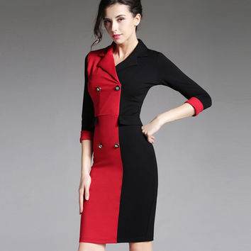 Turn-down Collar Sexy V Neck Pencil Contrast Color Fashion Autumn Winter Womens Casual Business Office Dress For Work B273