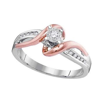 10kt White Rose Gold Women's Round Diamond Solitaire Bridal Wedding Engagement Ring 1/8 Cttw - FREE Shipping (US/CAN)