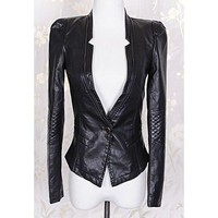 Black Zippered Long Sleeve Leather Coat