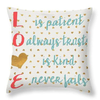 Love With Gold Hearts Decorative Throw Pillow