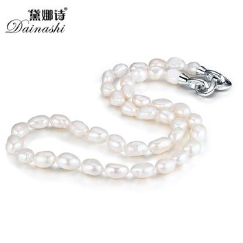 Dainashi genuine natural fresh water irregular baroque pearl necklace 925 sterling silver accessories fine jewelry for women